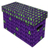Comic Book Cardboard Storage Box with Ha Ha Jester, Purple & Green Artwork, holds 150-175 Comics